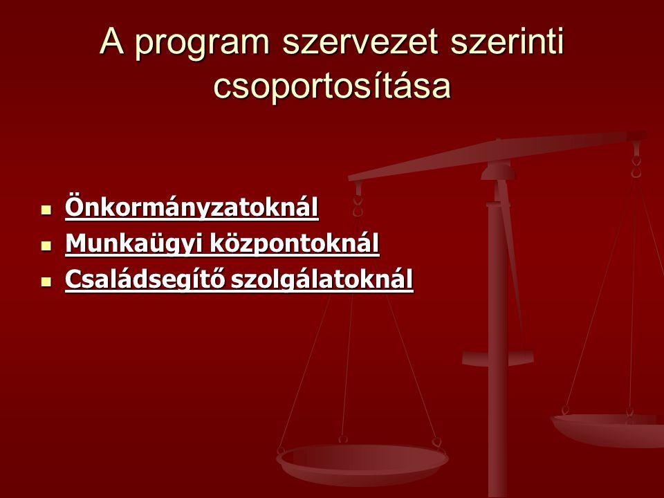 A program szervezet szerinti csoportosítása
