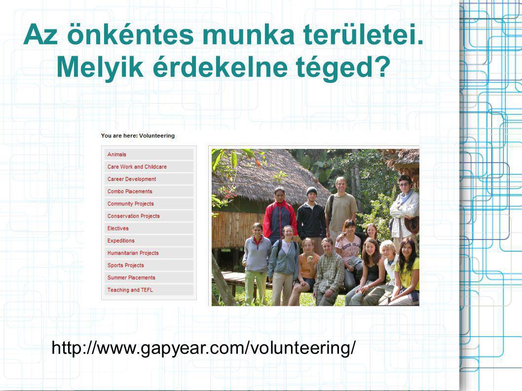 Az önkéntes munka területei. Melyik érdekelne téged