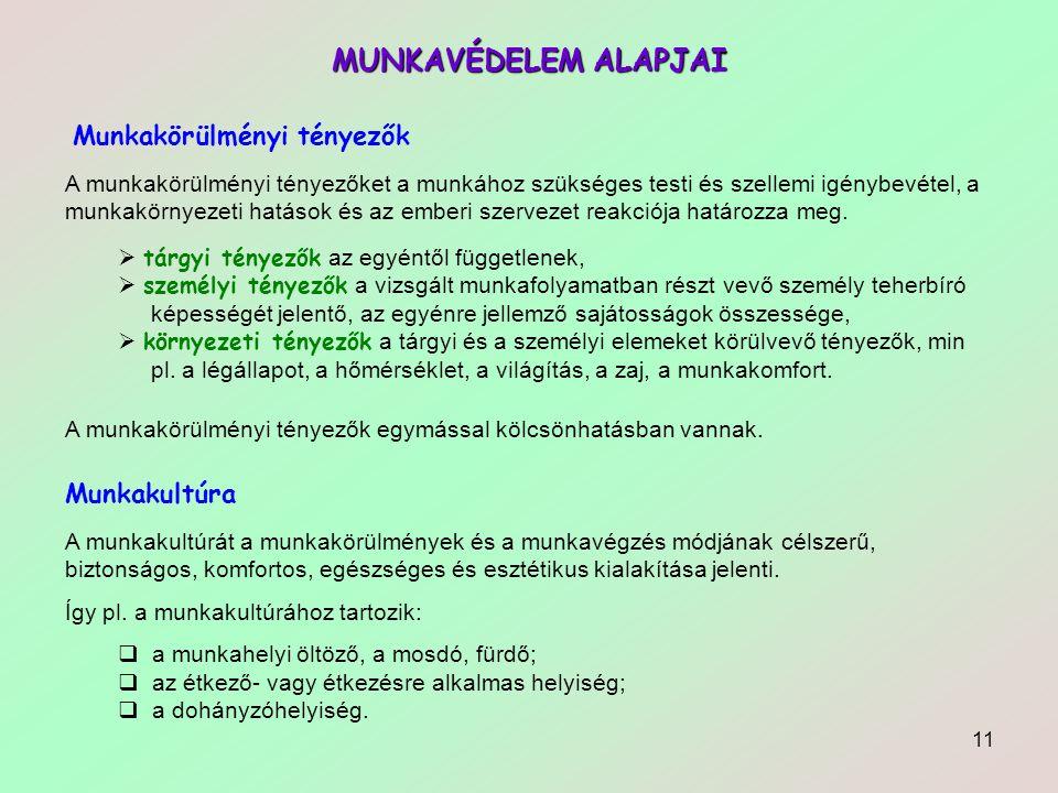 MUNKAVÉDELEM ALAPJAI Munkakörülményi tényezők Munkakultúra