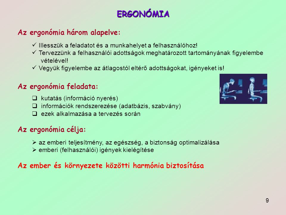 ERGONÓMIA Az ergonómia három alapelve: Az ergonómia feladata: