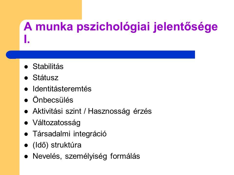 A munka pszichológiai jelentősége I.