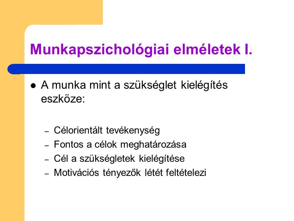 Munkapszichológiai elméletek I.