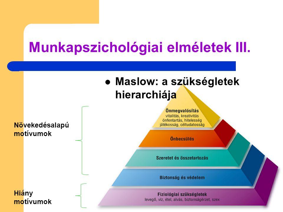 Munkapszichológiai elméletek III.