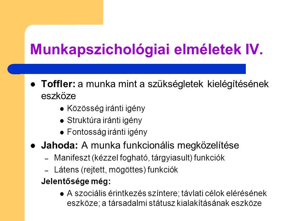 Munkapszichológiai elméletek IV.