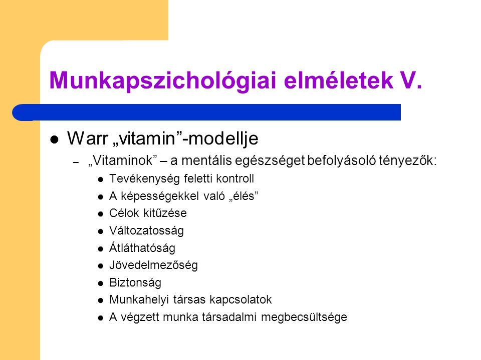 Munkapszichológiai elméletek V.