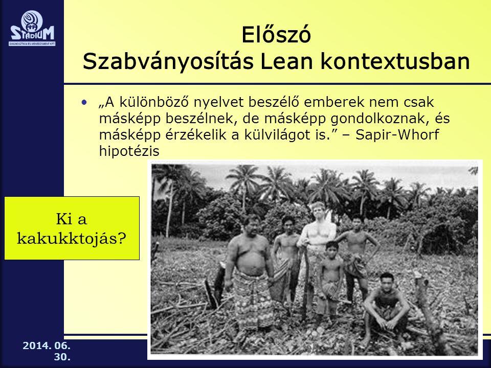Előszó Szabványosítás Lean kontextusban