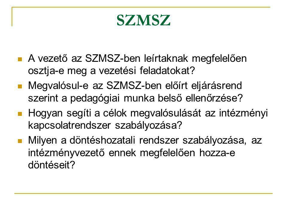 SZMSZ A vezető az SZMSZ-ben leírtaknak megfelelően osztja-e meg a vezetési feladatokat