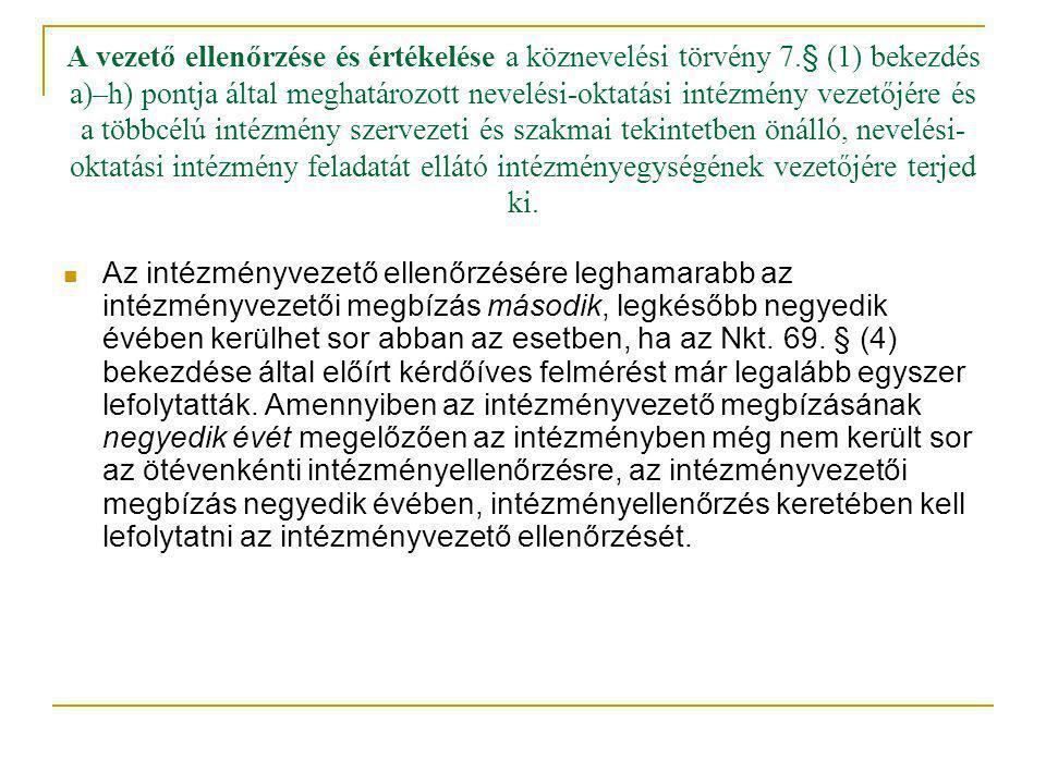 A vezető ellenőrzése és értékelése a köznevelési törvény 7