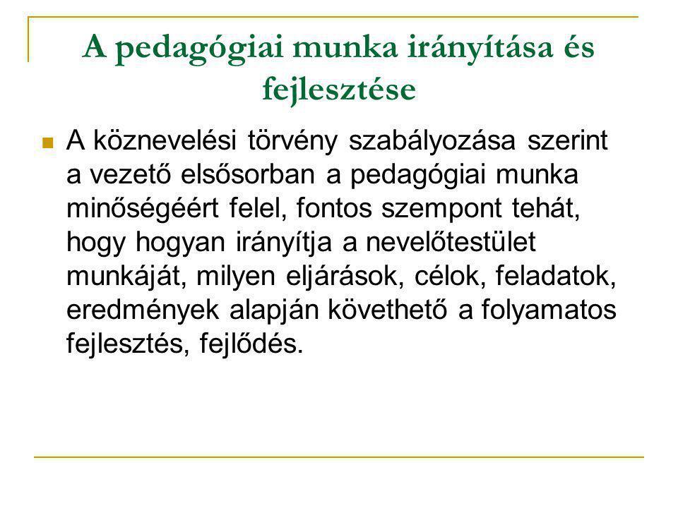 A pedagógiai munka irányítása és fejlesztése