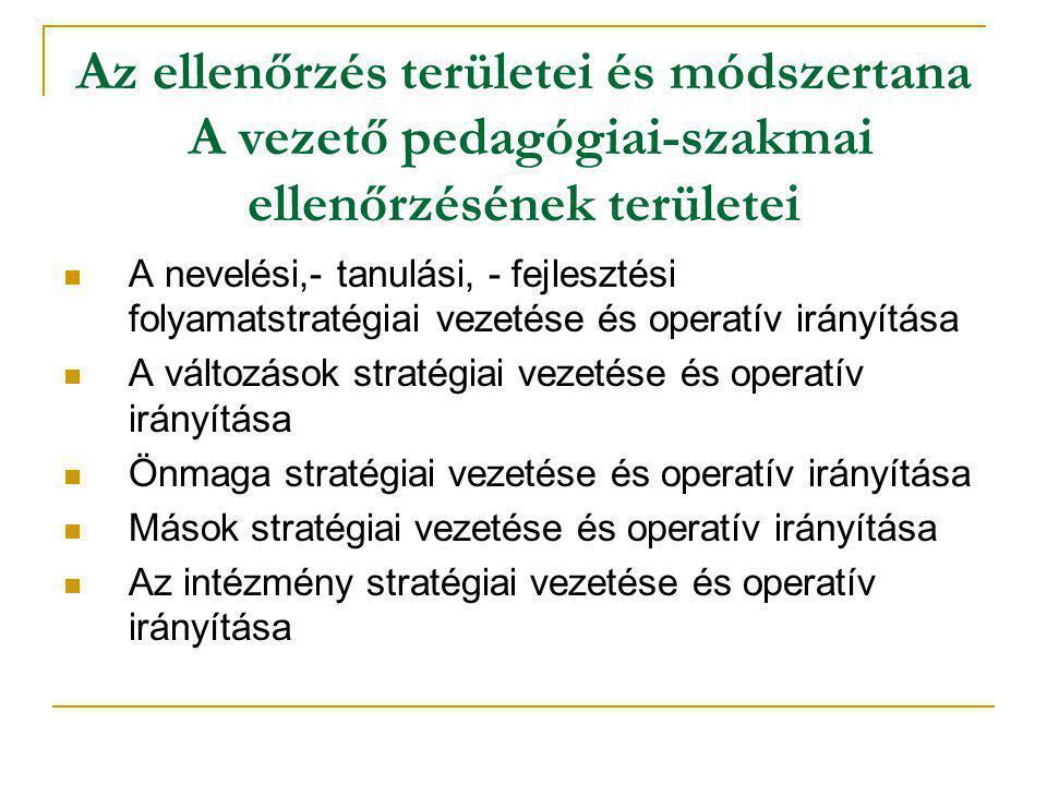 Az ellenőrzés területei és módszertana A vezető pedagógiai-szakmai ellenőrzésének területei
