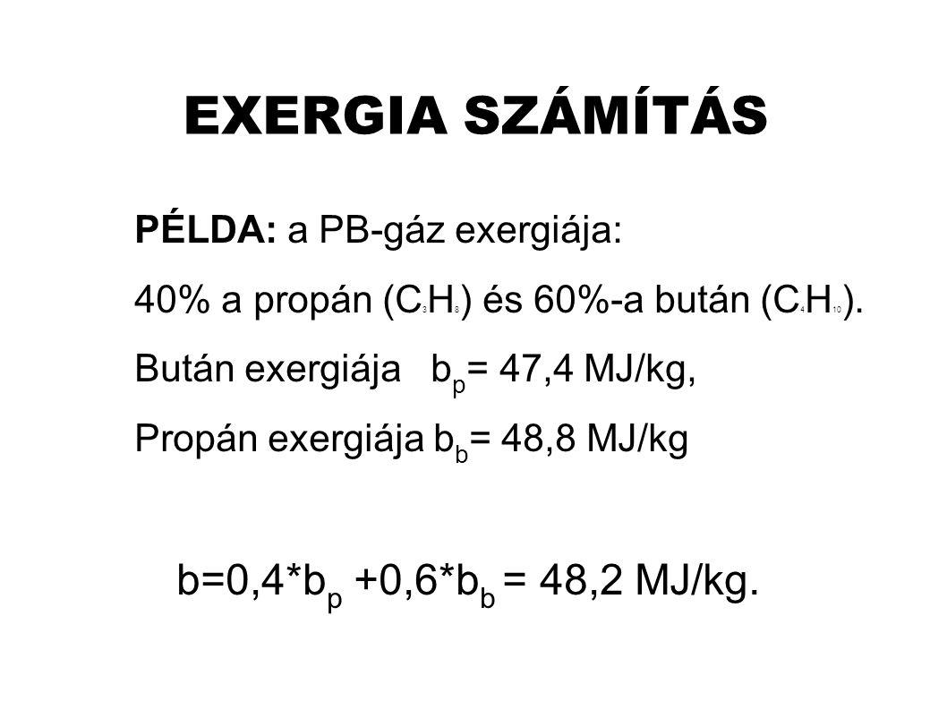 EXERGIA SZÁMÍTÁS PÉLDA: a PB-gáz exergiája: