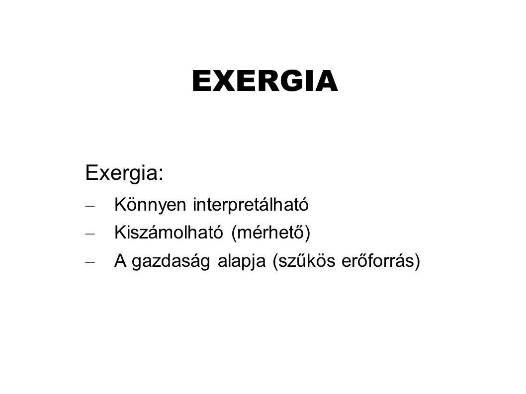 EXERGIA Exergia: Könnyen interpretálható Kiszámolható (mérhető)