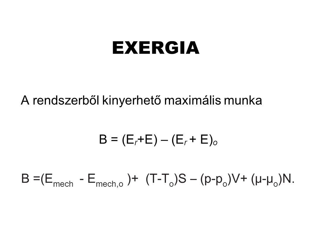 B =(Emech - Emech,o )+ (T-To)S – (p-po)V+ (μ-μo)N.