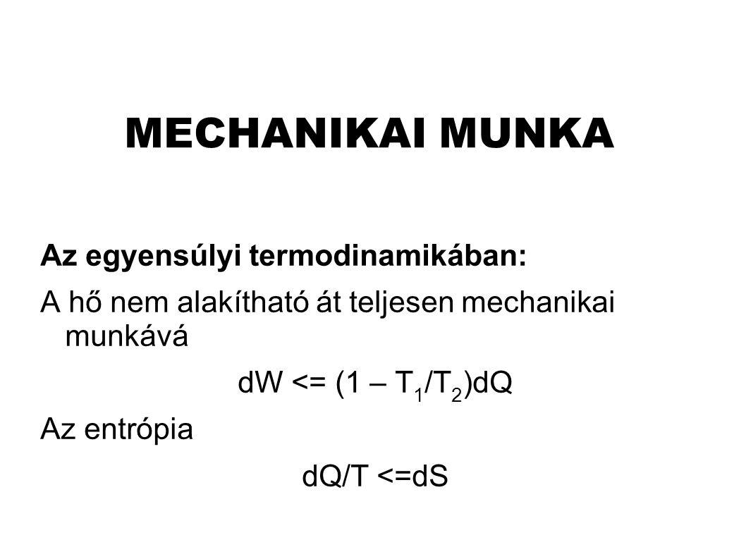 MECHANIKAI MUNKA Az egyensúlyi termodinamikában: