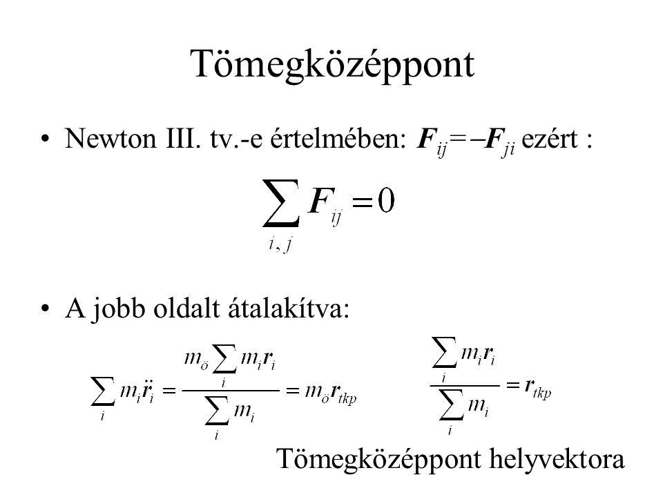Tömegközéppont Newton III. tv.-e értelmében: Fij=-Fji ezért :