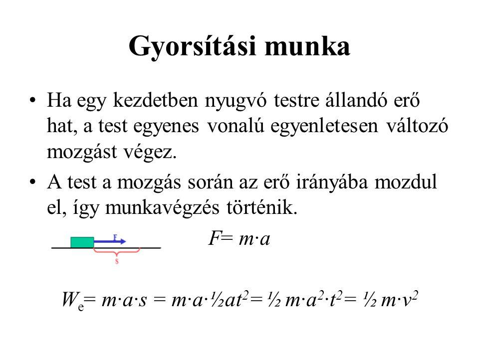 We= m·a·s = m·a·½at2= ½ m·a2·t2= ½ m·v2
