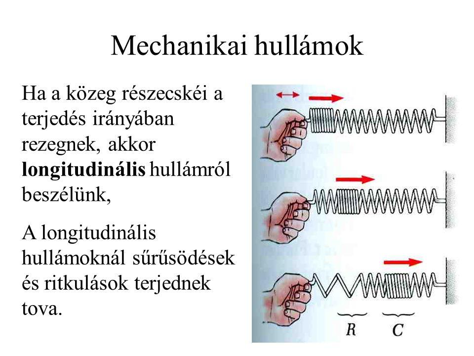 Mechanikai hullámok Ha a közeg részecskéi a terjedés irányában rezegnek, akkor longitudinális hullámról beszélünk,