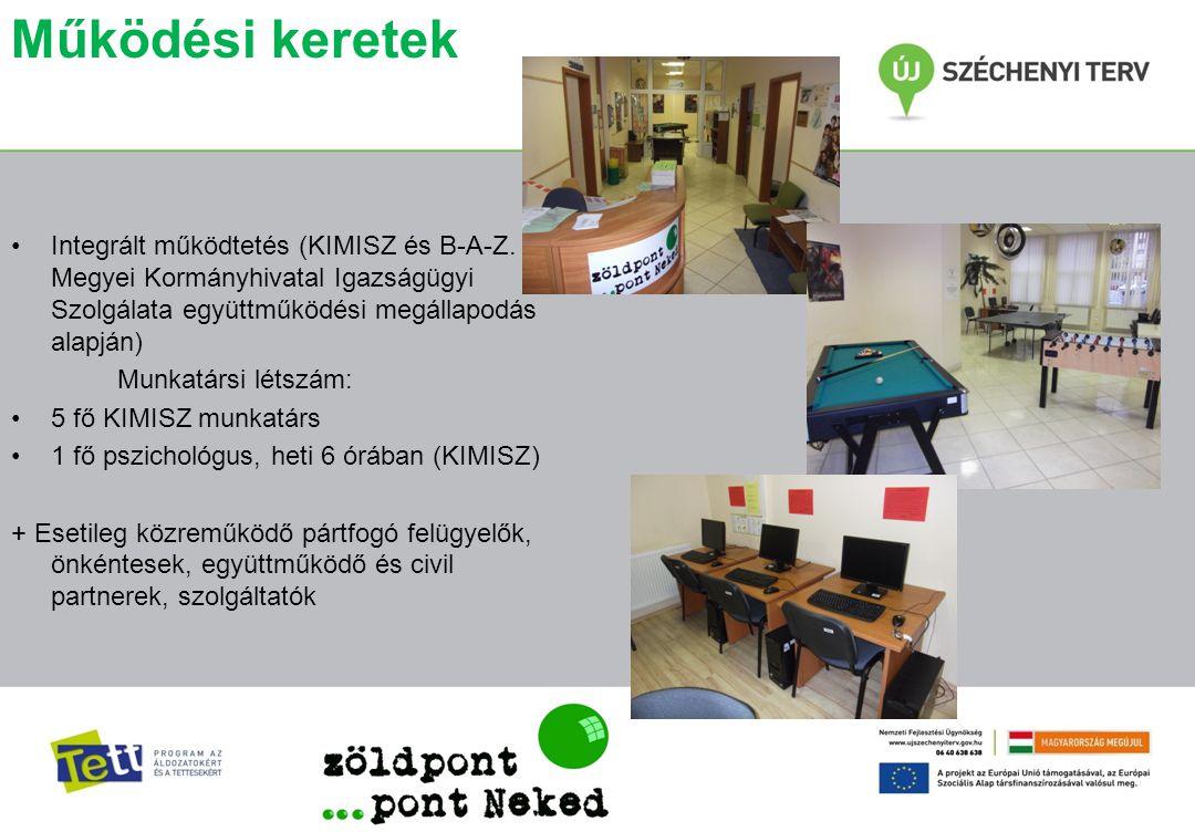 Működési keretek Integrált működtetés (KIMISZ és B-A-Z. Megyei Kormányhivatal Igazságügyi Szolgálata együttműködési megállapodás alapján)