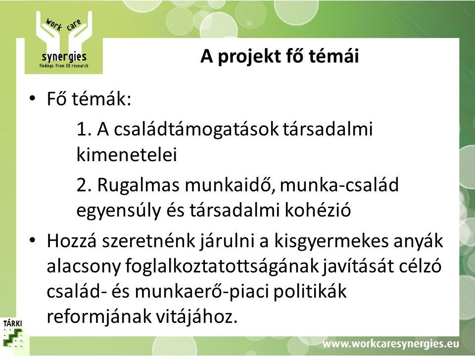 A projekt fő témái Fő témák: 1. A családtámogatások társadalmi kimenetelei. 2. Rugalmas munkaidő, munka-család egyensúly és társadalmi kohézió.