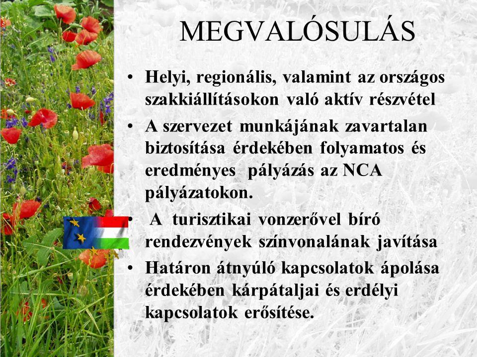 MEGVALÓSULÁS Helyi, regionális, valamint az országos szakkiállításokon való aktív részvétel.