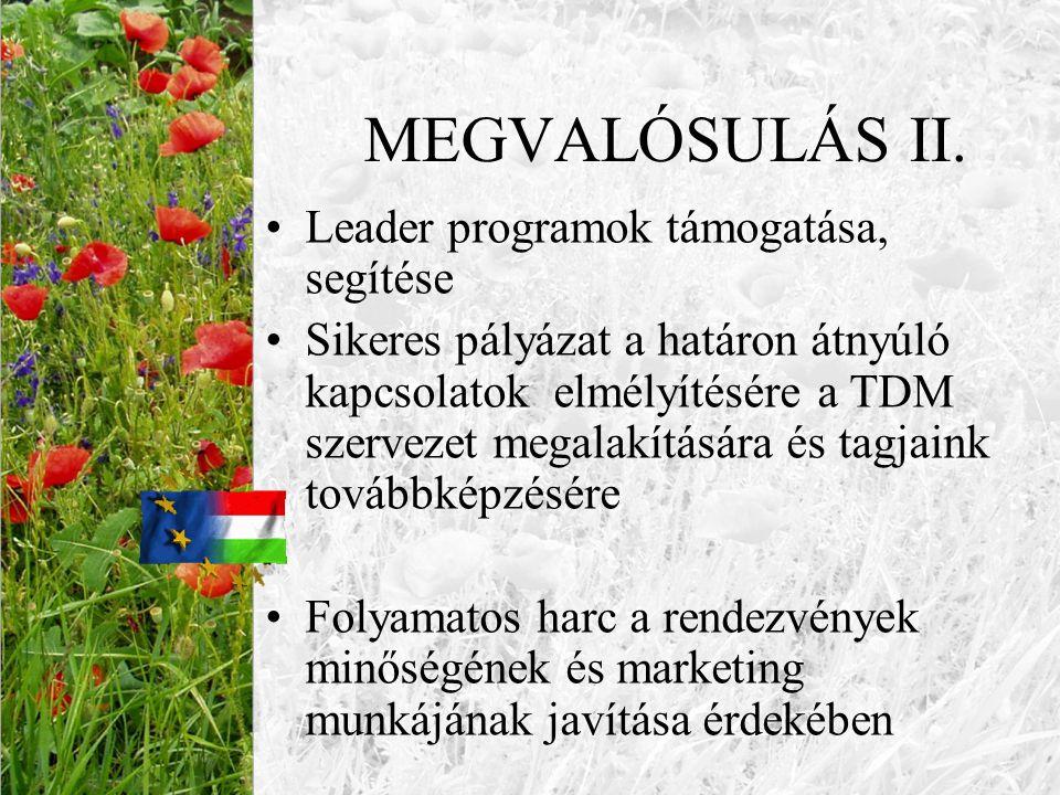MEGVALÓSULÁS II. Leader programok támogatása, segítése