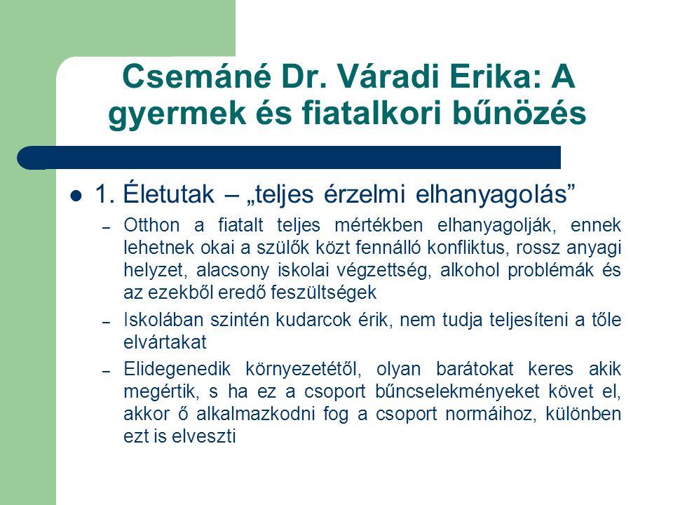 Csemáné Dr. Váradi Erika: A gyermek és fiatalkori bűnözés