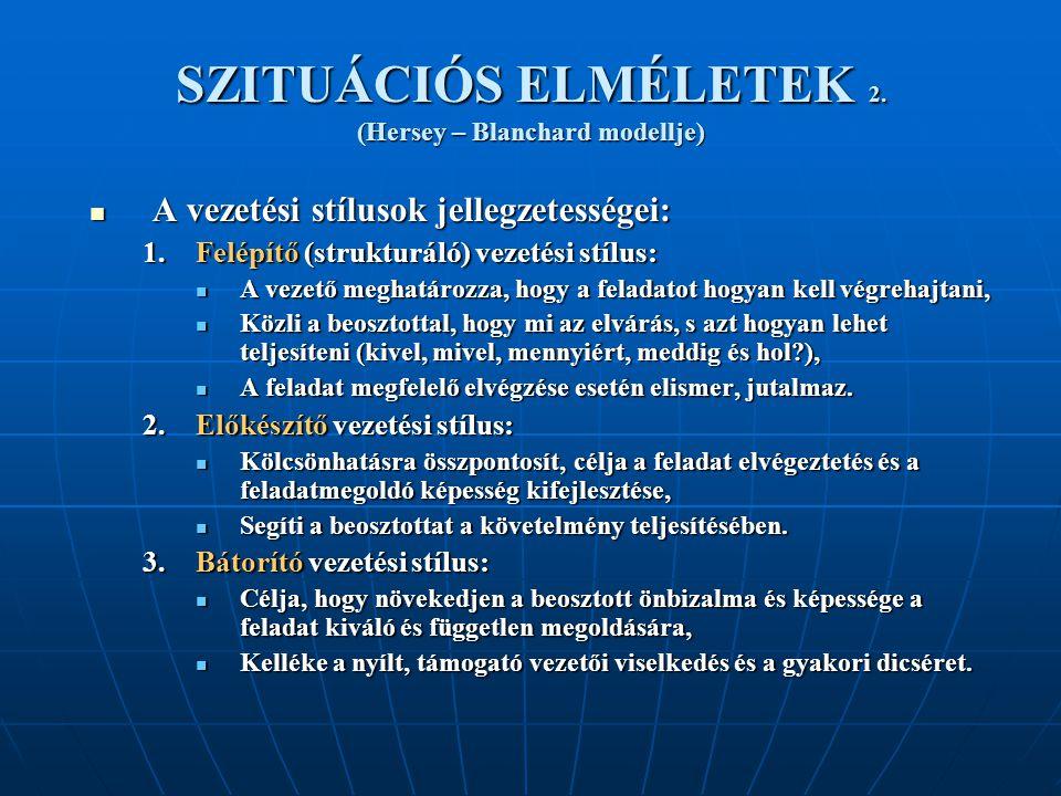 SZITUÁCIÓS ELMÉLETEK 2. (Hersey – Blanchard modellje)