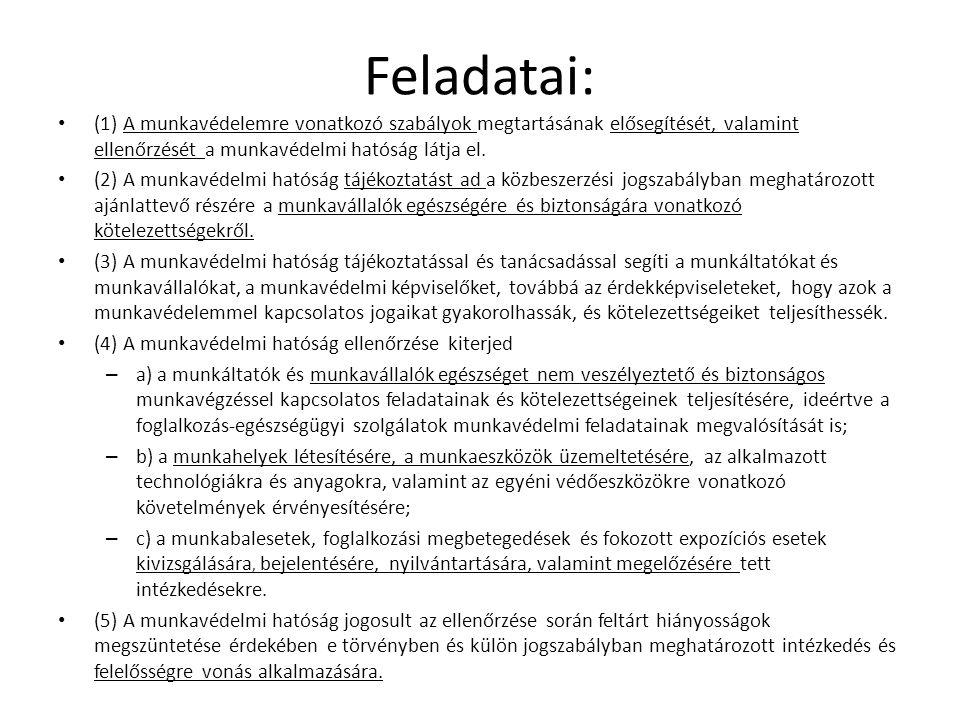Feladatai: (1) A munkavédelemre vonatkozó szabályok megtartásának elősegítését, valamint ellenőrzését a munkavédelmi hatóság látja el.
