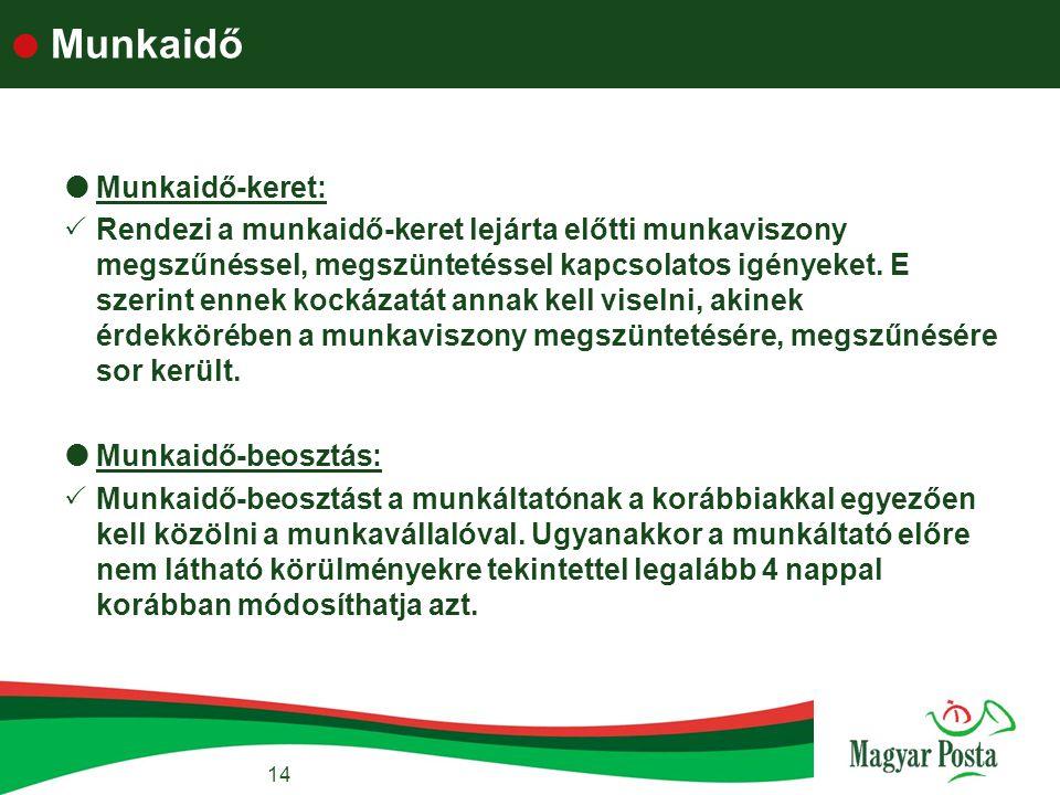 Munkaidő Munkaidő-keret: