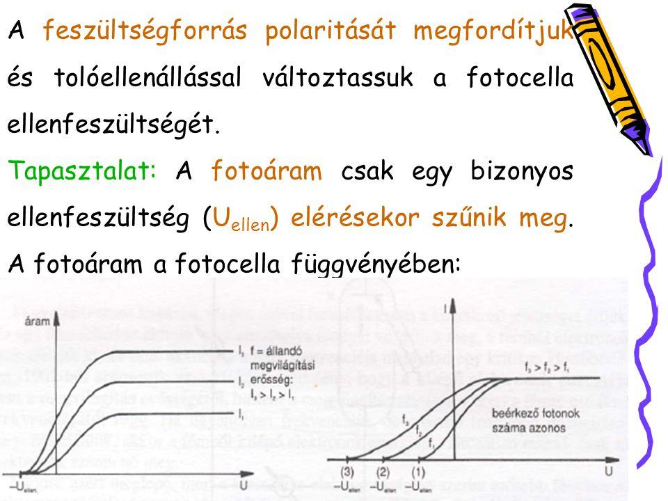 A feszültségforrás polaritását megfordítjuk és tolóellenállással változtassuk a fotocella ellenfeszültségét.