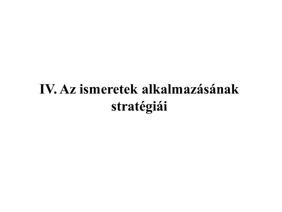 IV. Az ismeretek alkalmazásának stratégiái