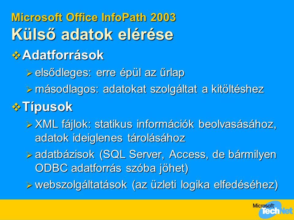Microsoft Office InfoPath 2003 Külső adatok elérése
