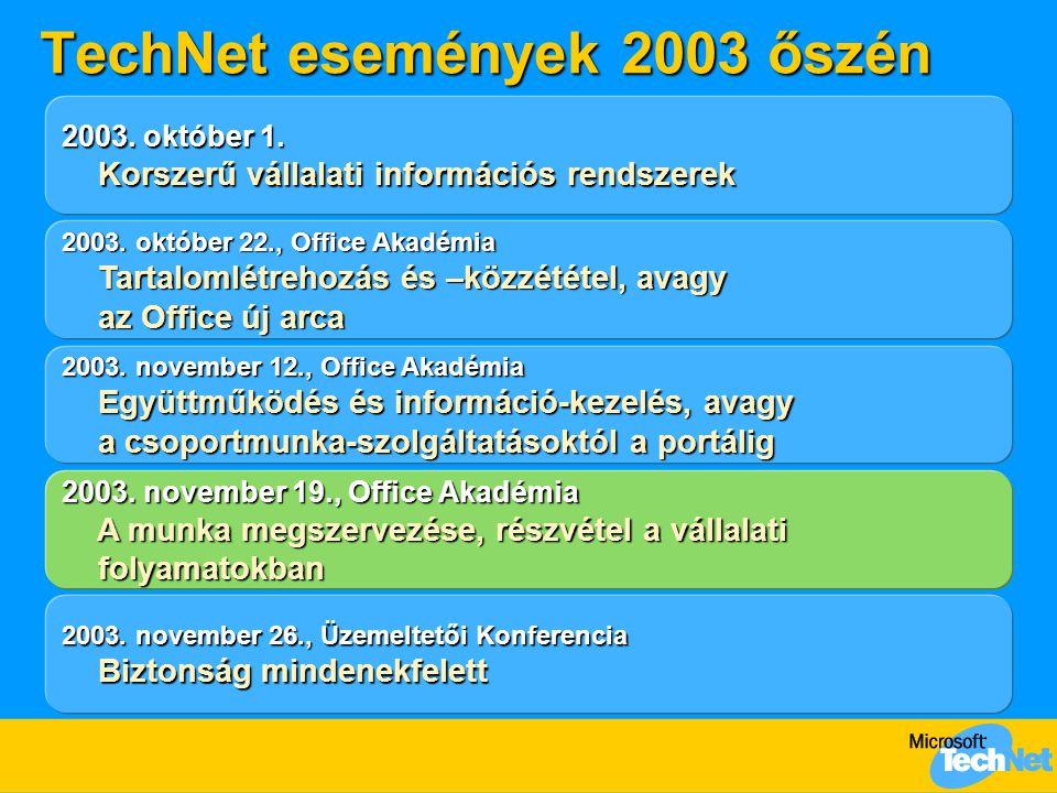 TechNet események 2003 őszén