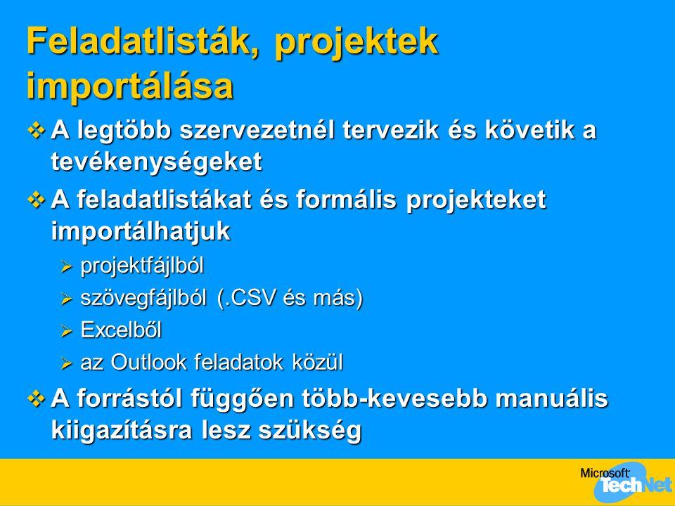 Feladatlisták, projektek importálása