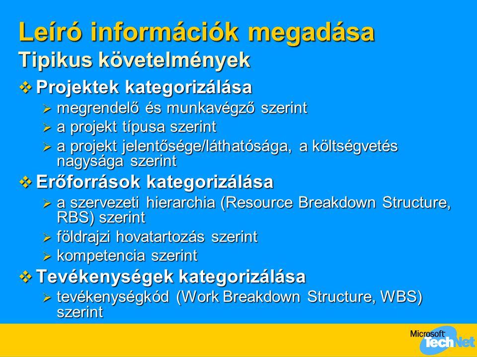 Leíró információk megadása Tipikus követelmények