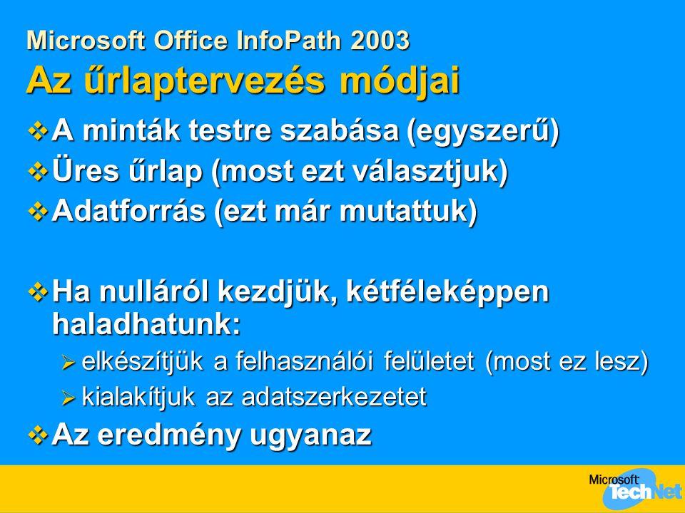 Microsoft Office InfoPath 2003 Az űrlaptervezés módjai