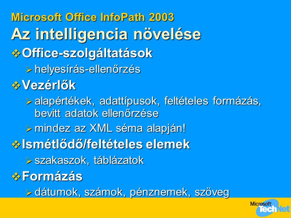 Microsoft Office InfoPath 2003 Az intelligencia növelése