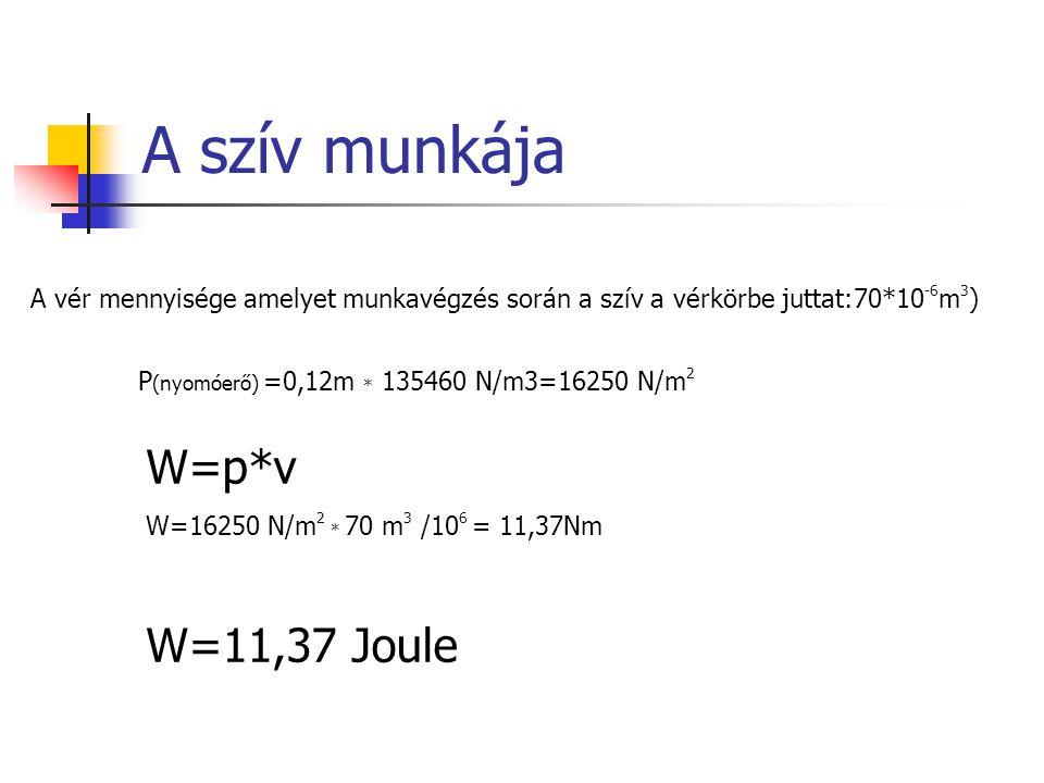 A szív munkája W=p*v W=11,37 Joule