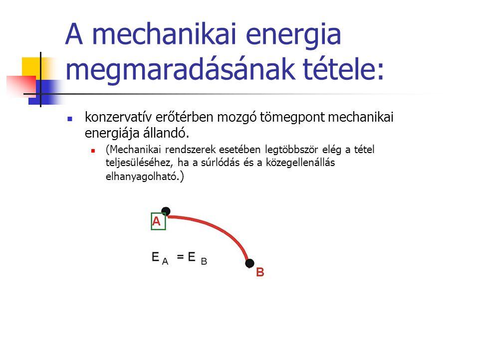 A mechanikai energia megmaradásának tétele: