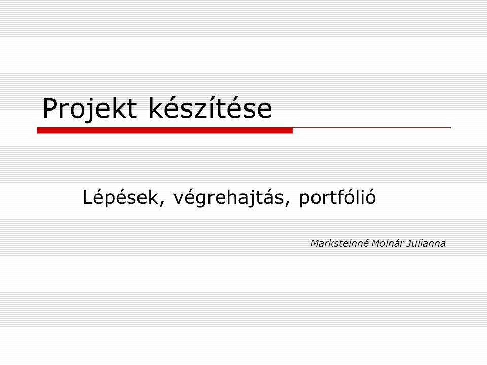 Lépések, végrehajtás, portfólió Marksteinné Molnár Julianna