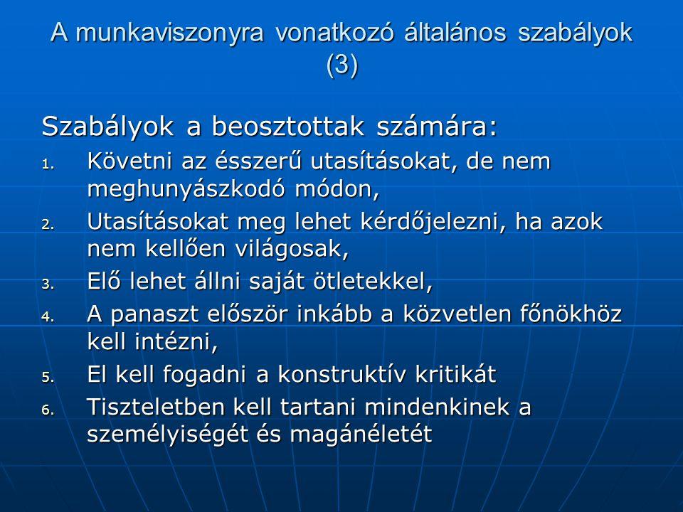 A munkaviszonyra vonatkozó általános szabályok (3)
