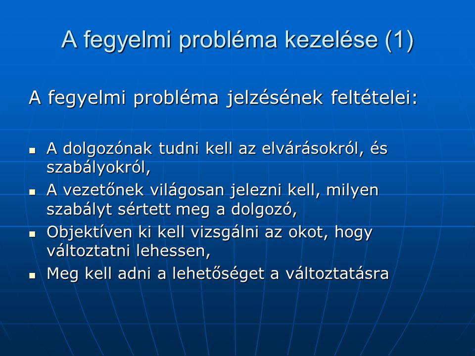 A fegyelmi probléma kezelése (1)