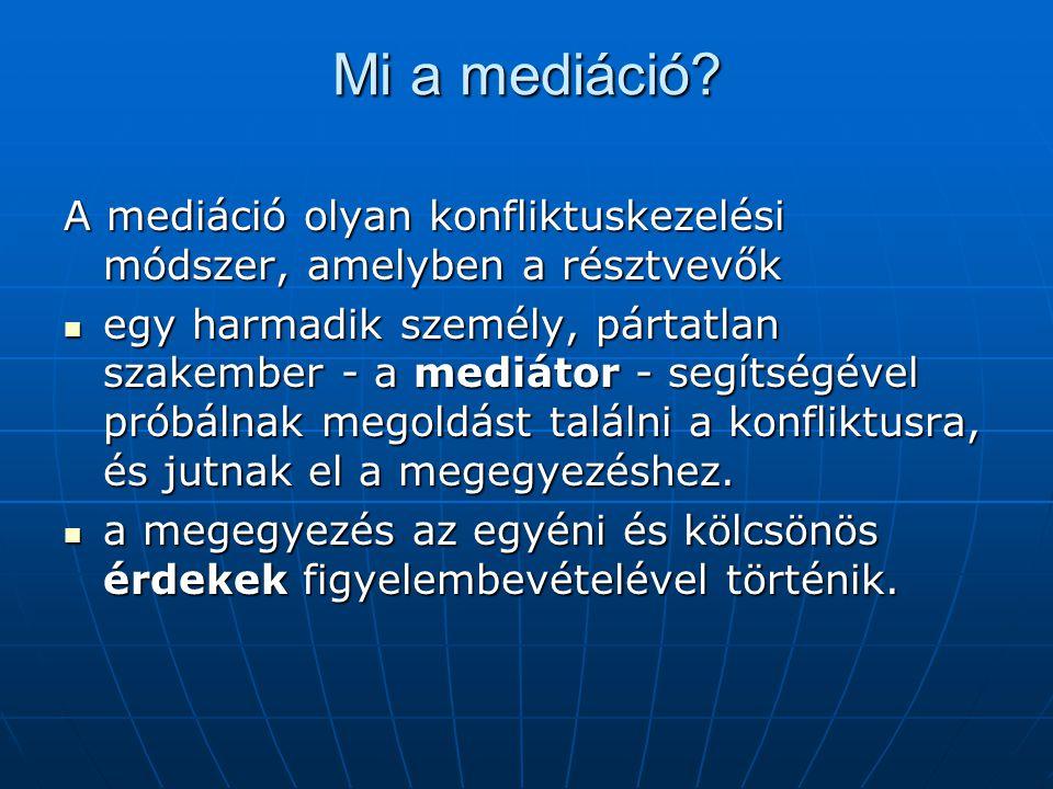 Mi a mediáció A mediáció olyan konfliktuskezelési módszer, amelyben a résztvevők.