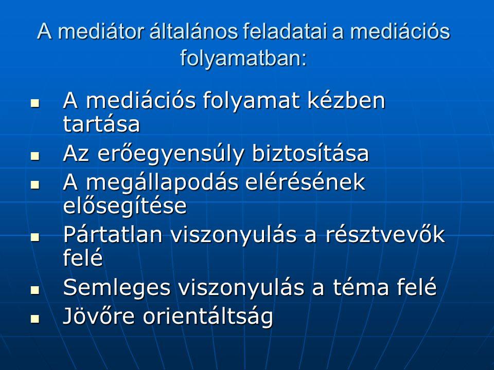 A mediátor általános feladatai a mediációs folyamatban: