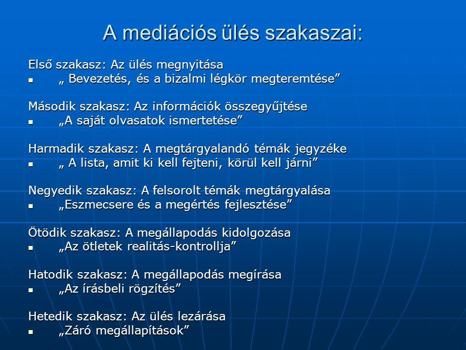 A mediációs ülés szakaszai: