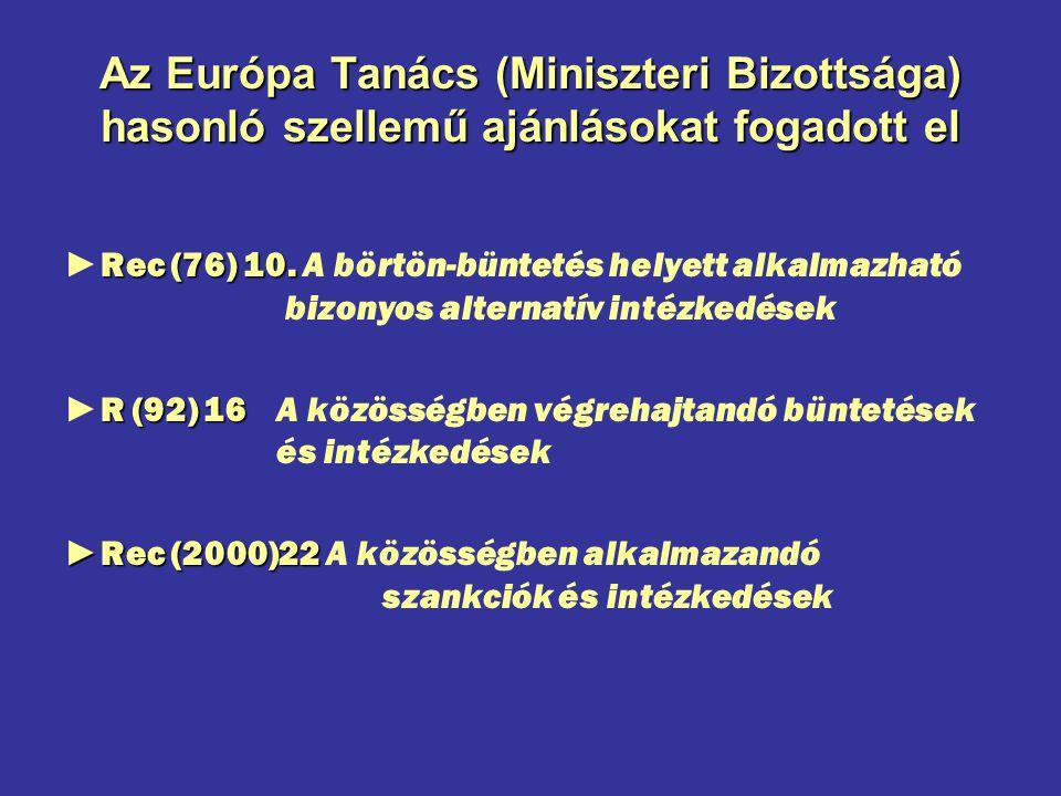 Az Európa Tanács (Miniszteri Bizottsága) hasonló szellemű ajánlásokat fogadott el