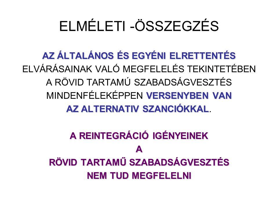 ELMÉLETI -ÖSSZEGZÉS AZ ÁLTALÁNOS ÉS EGYÉNI ELRETTENTÉS