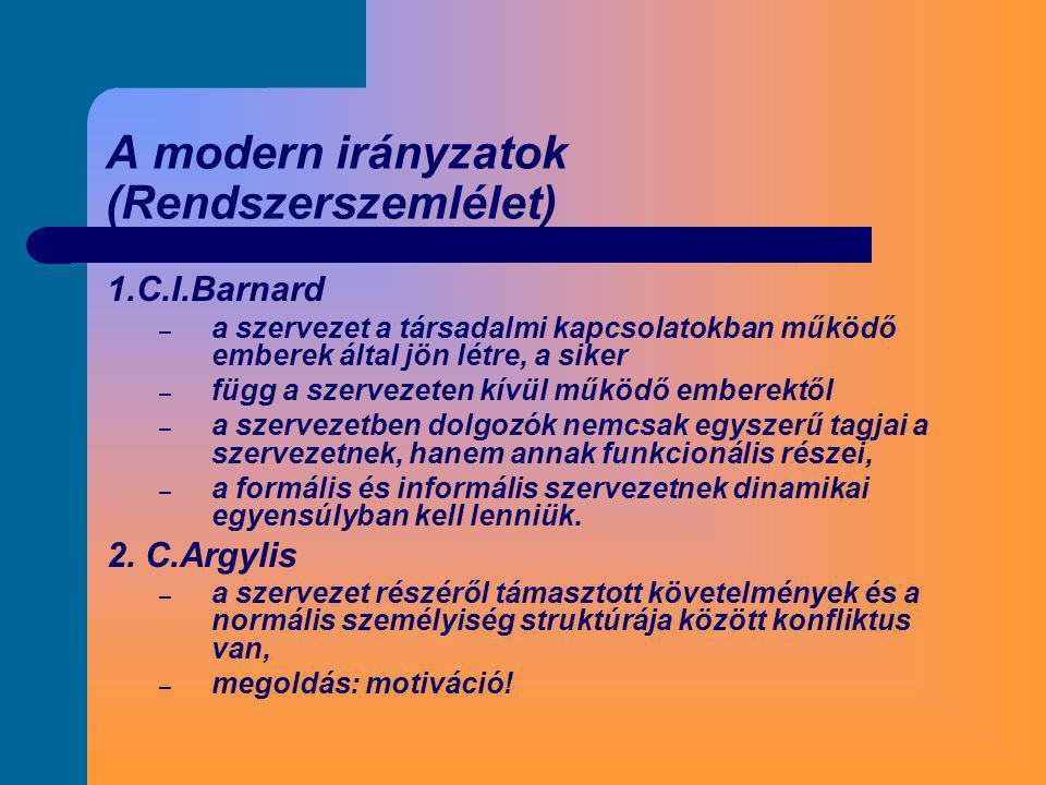 A modern irányzatok (Rendszerszemlélet)