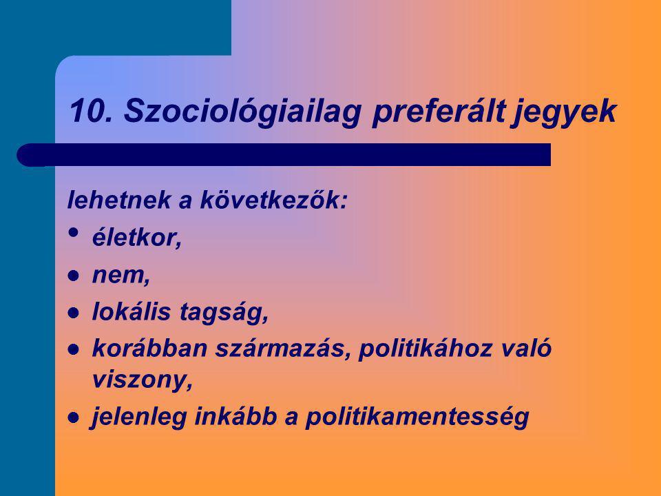 10. Szociológiailag preferált jegyek