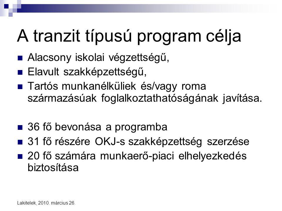 A tranzit típusú program célja